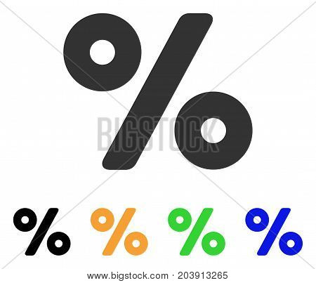 Percent icon. Vector illustration style is a flat iconic percent symbol with black, gray, green, blue, yellow color variants. Designed for web and software interfaces.