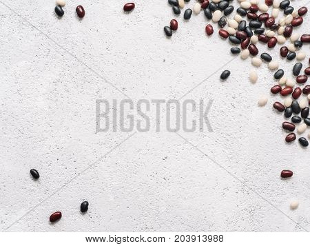 Top View Of Raw Mixed Beans With Copyspace