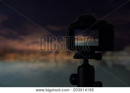 Digital Camera The Night View Of Lake Reflection
