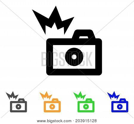 Camera Flash icon. Vector illustration style is a flat stroke iconic camera flash symbol with black, gray, green, blue, yellow color versions. Designed for web and software interfaces.