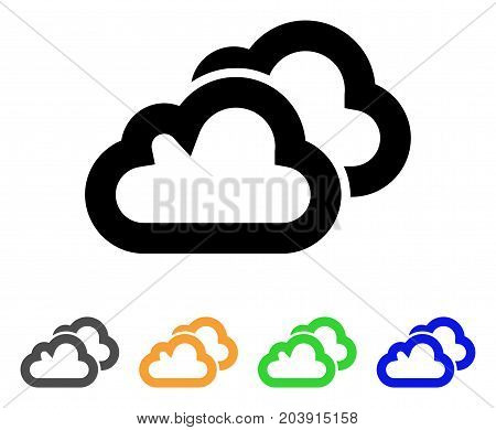 Clouds icon. Vector illustration style is a flat line iconic clouds symbol with black, gray, green, blue, yellow color versions. Designed for web and software interfaces.