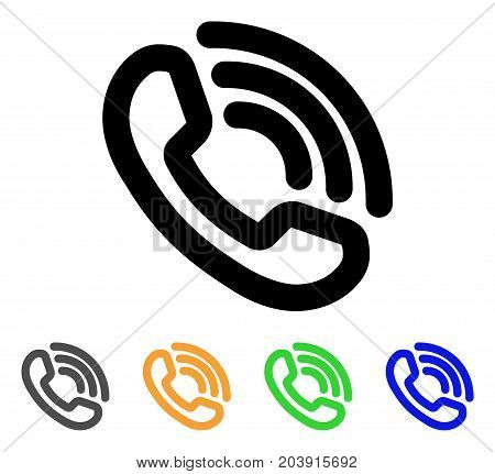 Phone Ring icon. Vector illustration style is a flat line iconic phone ring symbol with black, grey, green, blue, yellow color versions. Designed for web and software interfaces.