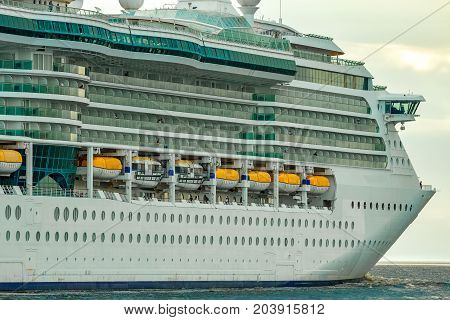 Cruise Liner At Summer