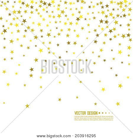 Falling gold stars. Abstract vector background with starry. The template for festivals, holiday and anniversary cards. Wallpaper. Starfall.