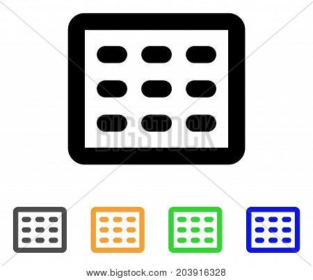 Table Grid icon. Vector illustration style is a flat stroke iconic table grid symbol with black, gray, green, blue, yellow color variants. Designed for web and software interfaces.