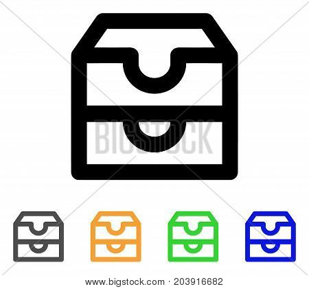 Account Boxes icon. Vector illustration style is a flat linear iconic account boxes symbol with black, grey, green, blue, yellow color variants. Designed for web and software interfaces.