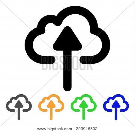 Cloud Upload icon. Vector illustration style is a flat linear iconic cloud upload symbol with black, grey, green, blue, yellow color variants. Designed for web and software interfaces.