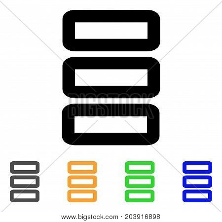 Database icon. Vector illustration style is a flat line iconic database symbol with black, grey, green, blue, yellow color versions. Designed for web and software interfaces.