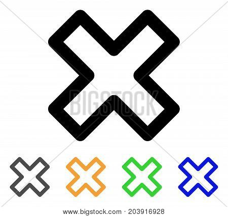 Delete X-Cross icon. Vector illustration style is a flat line iconic delete x-cross symbol with black, gray, green, blue, yellow color versions. Designed for web and software interfaces.