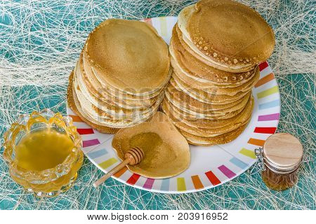 Pancake with honey or maple syrup pancakes with honey