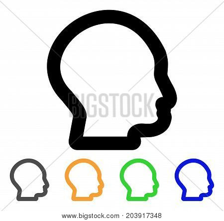 Head Profile icon. Vector illustration style is a flat stroke iconic head profile symbol with black, gray, green, blue, yellow color variants. Designed for web and software interfaces.