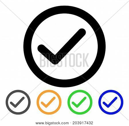 Ok icon. Vector illustration style is a flat line iconic ok symbol with black, grey, green, blue, yellow color versions. Designed for web and software interfaces.