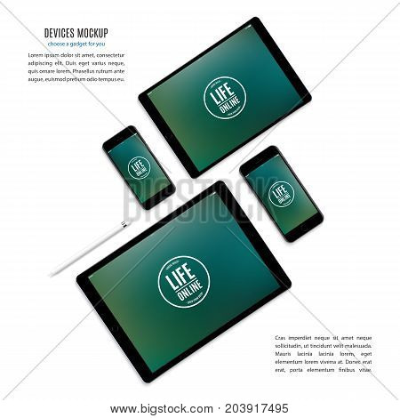 mockup devices: smartphones and tablets with colored screen isolated on white background. stock vector illustration eps10