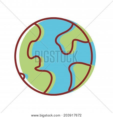 global earth planet and geograpy continents vector illustration