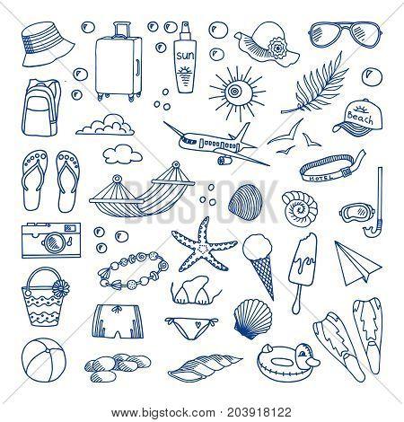 Seaside holidays. Vector illustration. Vector illustration. Sunglasses and sunscreen, ice cream, slates, hammock. The concept of summer holidays. Vector illustration for a beautiful design.