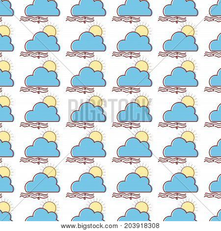nice sun with cloud and fresh wind weather background vector illustration