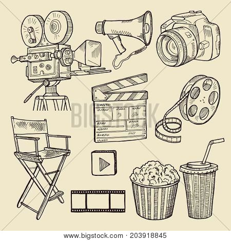 Drawing scribbles. Vector illustration. Vector Icons. A collection of characters for the film. Elements of handmade cinematography camera, film tape, camera, popcorn, megaphone