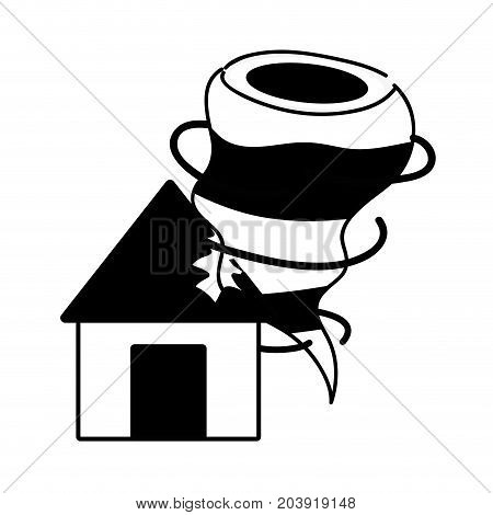 contour house with tornado storm disaster weather vector illustration