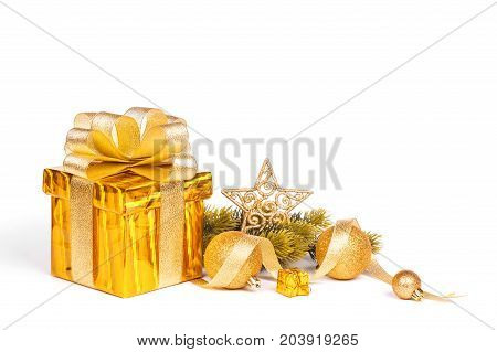 christmas gift box and baubles isolated on white background