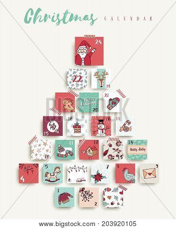 Christmas Advent Calendar Cute Cartoon Holiday Art
