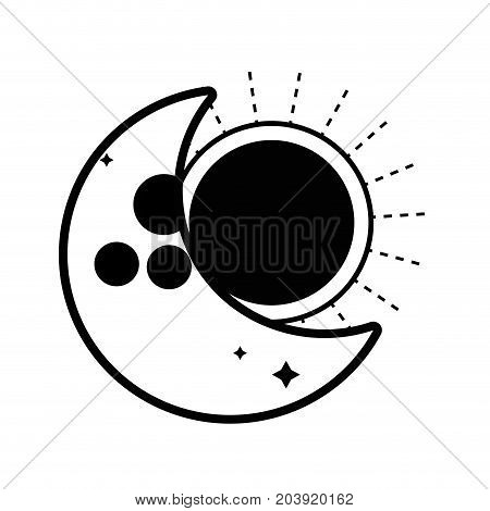contour eclipse of moon and sun universe mystic vector illustration