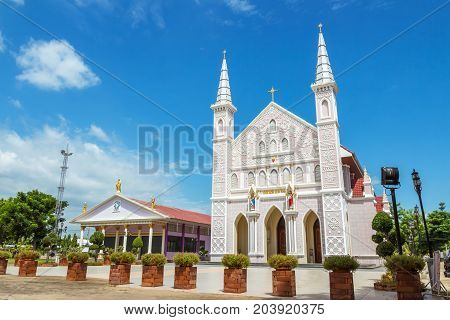 Phrachristphraharuthai church is a catholic church The church is a public place in Thailand where people with religious beliefs come together to perform rituals. Phrachristphraharuthai church located in ratchaburi province thailand
