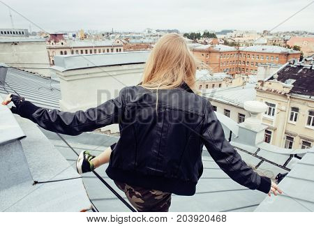 two cool blond real girls friends making selfie on roof top, lifestyle people concept, modern teens close up