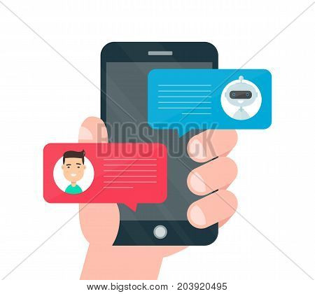 Man person hand chatting on cellphone with chat bot robot. Vector modern style cartoon character illustration avatar icon design. Chat messages notification on smartphone. Isolated on white background