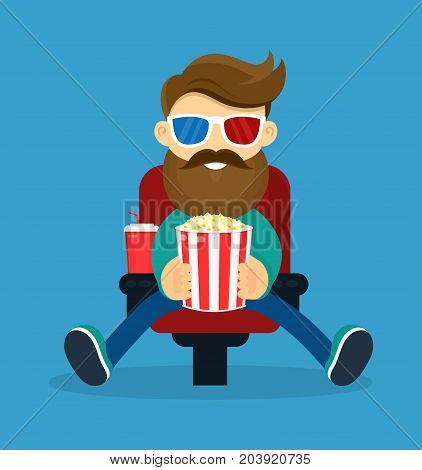 Young happy smiling beard hipster man in cinema. In 3d glasses and popcorn watching movie film. Vector modern flat style cartoon character illustration. Isolated on blue background