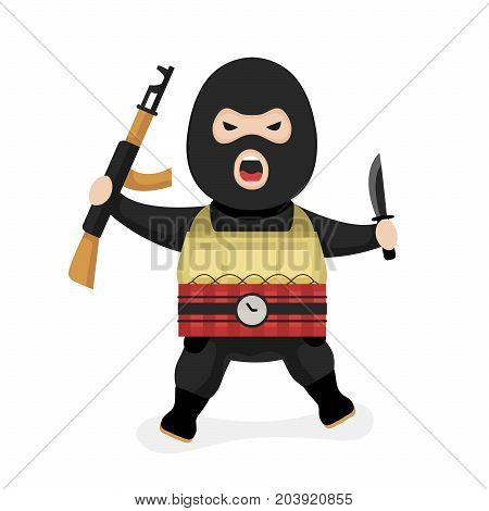 Angry terrorist. Vector modern flat style cartoon character illustration. Isolated on white  background. Terrorism concept