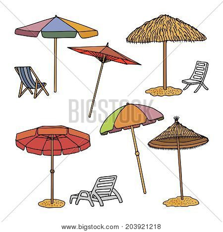 A collection of images of a vector format of beach umbrellas. Line and colored silhouette of beach umbrellas, isolated on white background. Doodle Set