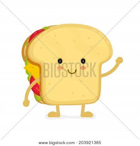 Tasty sandwich. Vector modern flat style cartoon illustration. Isolated on white background.