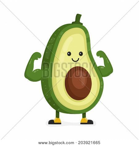 Cute happy strong smiling avocado show muscle biceps. Vector modern flat style cartoon character illustration. Isolated on white background.  Eating healthy food, fitness, sport concept design