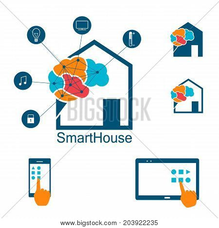 Smart house logo, automated, wireless controled house, icons and logo of house and appliances connected. Vector illustration in eps8 formata and flat style.