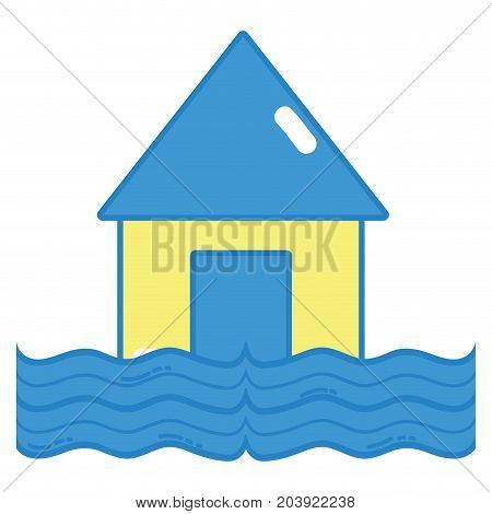 House flood to the water disaster weather vector illustration