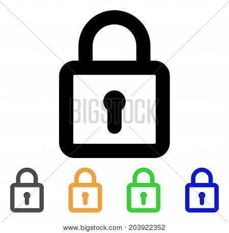Lock icon. Vector illustration style is a flat line iconic lock symbol with black, grey, green, blue, yellow color variants. Designed for web and software interfaces.