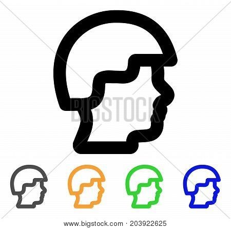 Soldier Head icon. Vector illustration style is a flat stroke iconic soldier head symbol with black, grey, green, blue, yellow color variants. Designed for web and software interfaces.