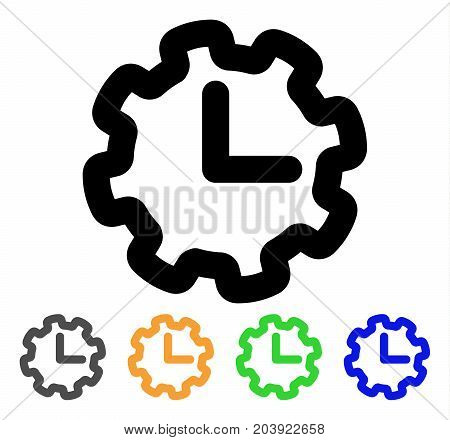 Time Setup icon. Vector illustration style is a flat stroke iconic time setup symbol with black, gray, green, blue, yellow color versions. Designed for web and software interfaces.