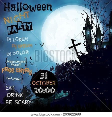 Vertical Poster Halloween Night Party.iinvitation Template.