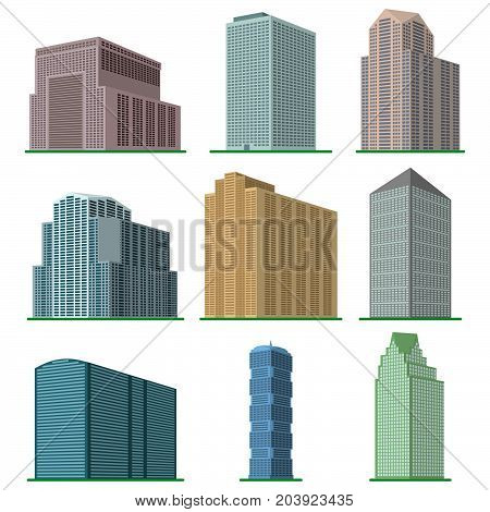 Set of nine  modern high-rise building on a white background. View of the building from the bottom. Isometric vector illustration.