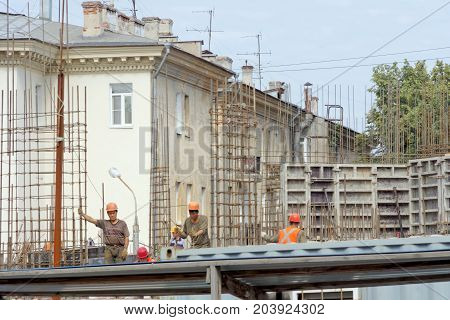 Nizhny Novgorod, Russia. - July 20.2017. Construction of the residential complex House on Freedom located in the center of the historic part of the city near the Freedom Square in Nizhny Novgorod.
