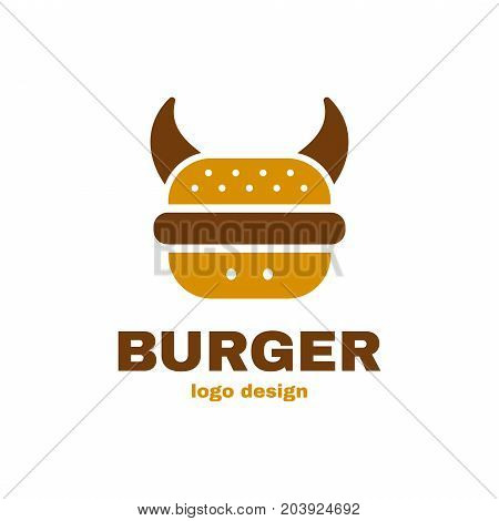 Burger bull cow concept logo template design. Vector illustraion flat icon design. Isolated on white background. Conept for fast food cafe, burger meat meal menu