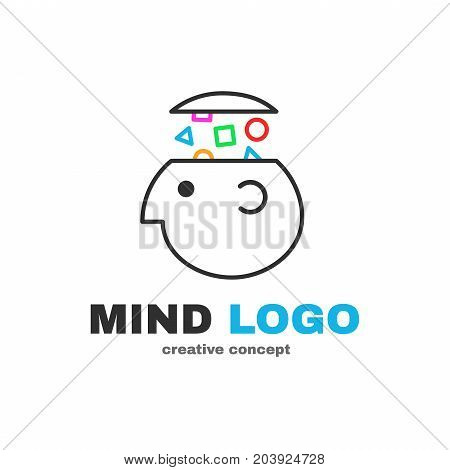 Mind logic creative logo design. Vector modern flat style cartoon character illustration icon design.Isolated on white background. Concept smart brain head.  think decision, human head, gain knowledge