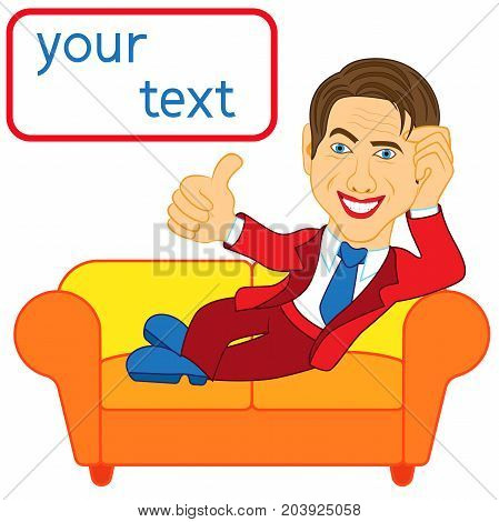 Happy Man Lying On An Orange Sofa