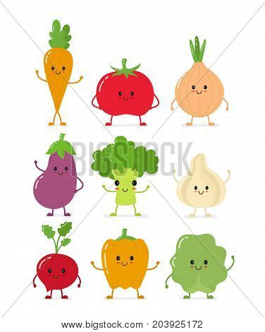 Cute happy smilig raw vegetable collection set.Vector flat style cartoon character illustration.Isolated on white background. Carrot, tomato, onion, eggplant, garlic, broccoli, cabbage, pepper, radish