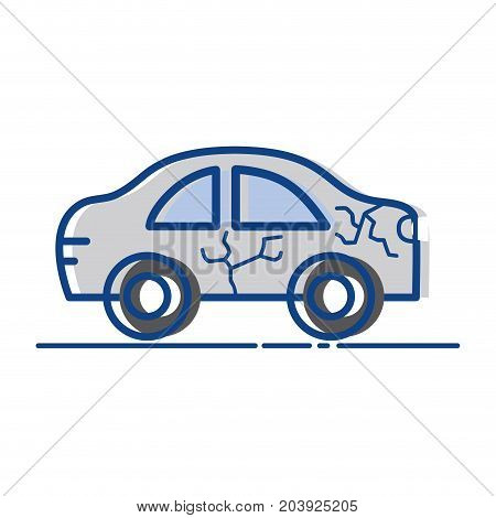 car crash in the road for accident disaster vector illustration