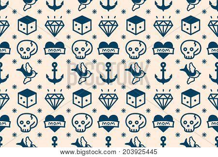Old school tattoo hipster style seamless pattern. vector illustration icon design. white, blue. anchor, heart, love. skull,swallow,dice,diamond.