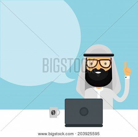 Arabian muslim businessman. Vector flat cartoon character modern style illustration icon drawing, holding up his finger, using laptop computer with speech bubble, Arab presentation concept