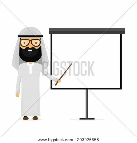 Arabian muslim businessman. Vector flat cartoon character modern style illustration icon drawing, Making presentation on a white board. Arab presentation concept. place for text