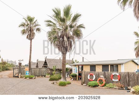 SWAKOPMUND NAMIBIA - JUNE 30 2017: The reception office of the Tiger Reef Camping Site in Swakopmund on the Atlantic Coast in the Namib Desert of Namibia